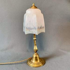 Early 20th Century Table Lamp with Reverse Painted Shade