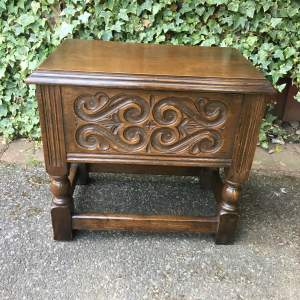 Tudor Oak Lidded Side Chest Table with Carved Panels