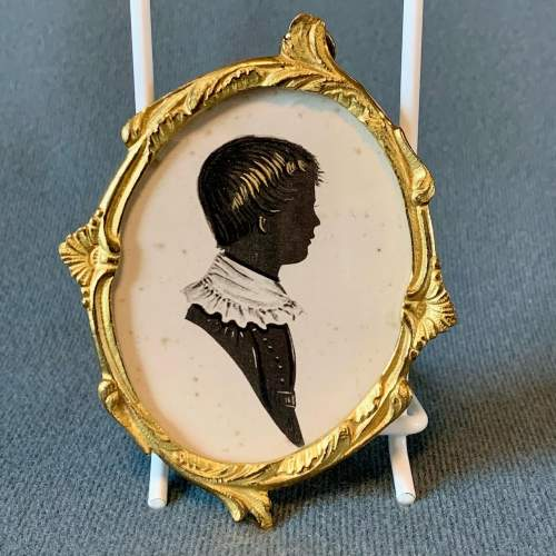 19th Century English School Painted Silhouette of a Boy image-1