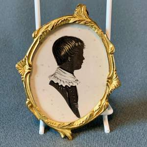 19th Century English School Painted Silhouette of a Boy