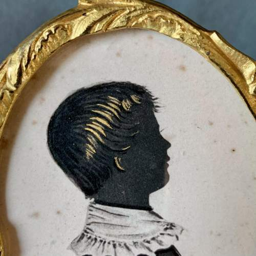 19th Century English School Painted Silhouette of a Boy image-2
