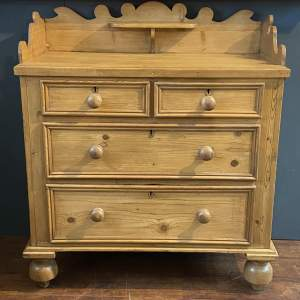 1880s Cumbrian Pine Curly Backed Chest of Drawers