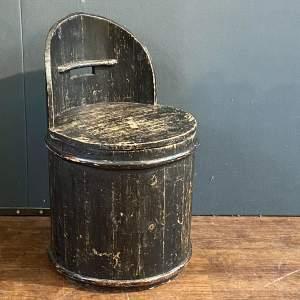 19th Century Swedish Pine Coopered Barrel Chair