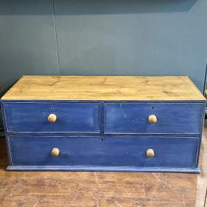 1860s English Blue Painted Pine Unit with Drawers