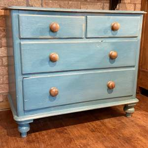 Victorian Blue Painted Pine Chest of Drawers