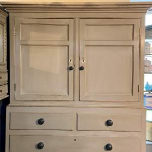 1850s Cumbrian Pine Light Grey Painted Housekeepers Cupboard