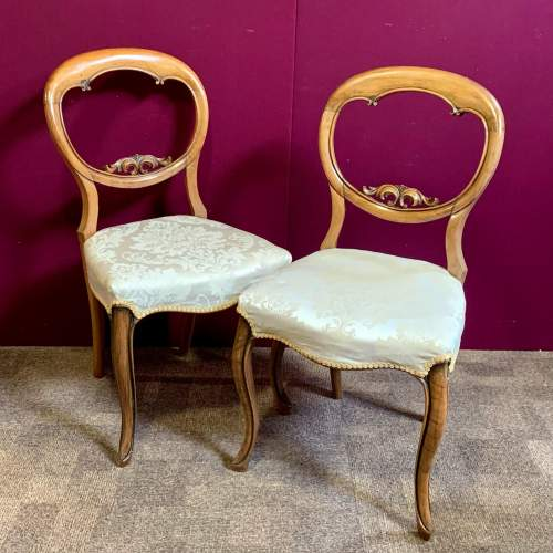 Set of Four Victorian Walnut Balloon Back Dining Chairs image-2