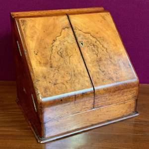 Victorian Burr Walnut Stationary Desk Cabinet