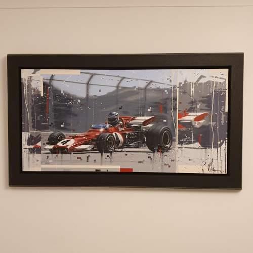 Kris Hardy Original Oil Painting on Canvas titled Vintage F1 Car image-1