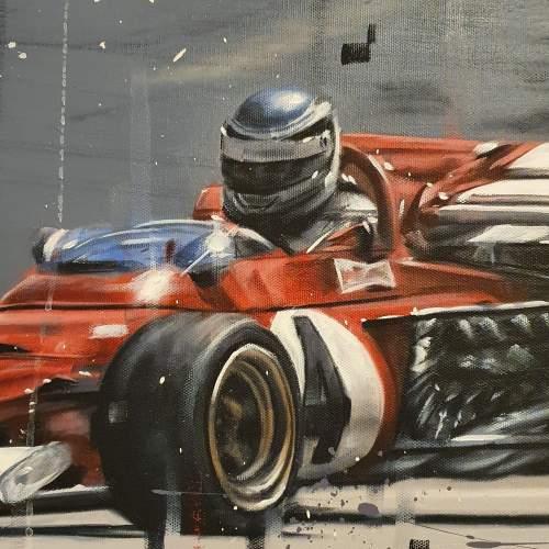Kris Hardy Original Oil Painting on Canvas titled Vintage F1 Car image-3
