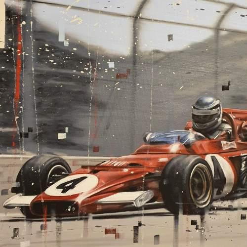 Kris Hardy Original Oil Painting on Canvas titled Vintage F1 Car image-4