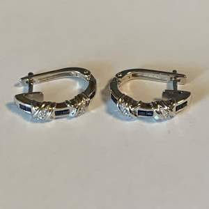 Silver Sapphire and Diamond Earrings