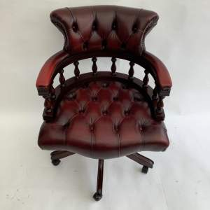 Ox Blood Red Leather Captains Chair