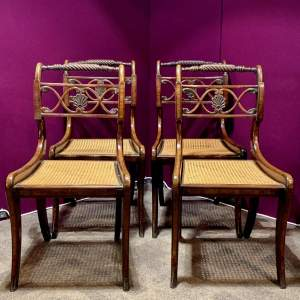 Set of Four Regency Cane Seated Dining Chairs