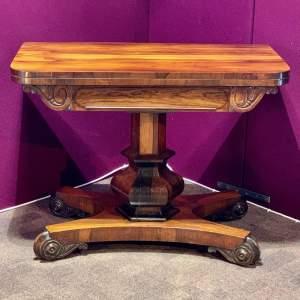 William IV Rosewood Pedestal Card Table