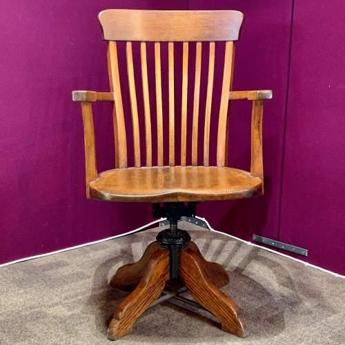 Edwardian Oak Swivel Desk Chair image-1