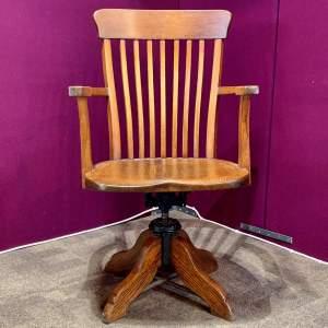 Edwardian Oak Swivel Desk Chair