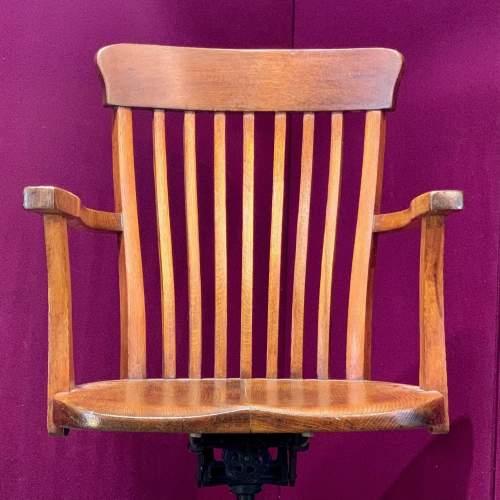 Edwardian Oak Swivel Desk Chair image-2