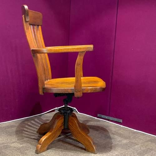 Edwardian Oak Swivel Desk Chair image-3