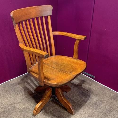 Edwardian Oak Swivel Desk Chair image-4