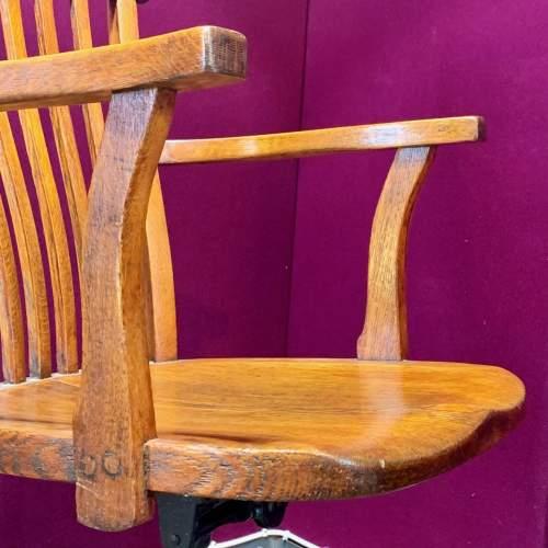 Edwardian Oak Swivel Desk Chair image-6