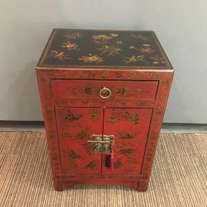 Vintage Oriental Decorated Side Cabinet