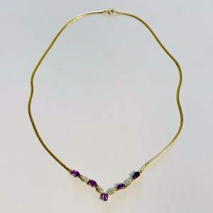 9ct Gold Amethyst and Diamond Necklace