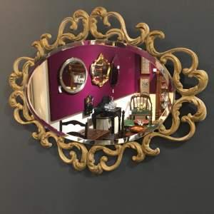 Scrollwork Oval Wall Mirror Circa 1950