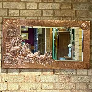 20th Century Decorative Copper Framed Wall Mirror with Horse and Cart