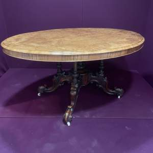 19th Century Large Inlaid Walnut Tilt Top Loo Table