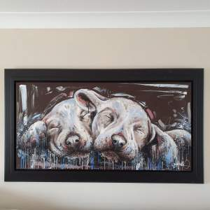 Samantha Ellis Original Oil Painting titled Snuggled Up - Very Large