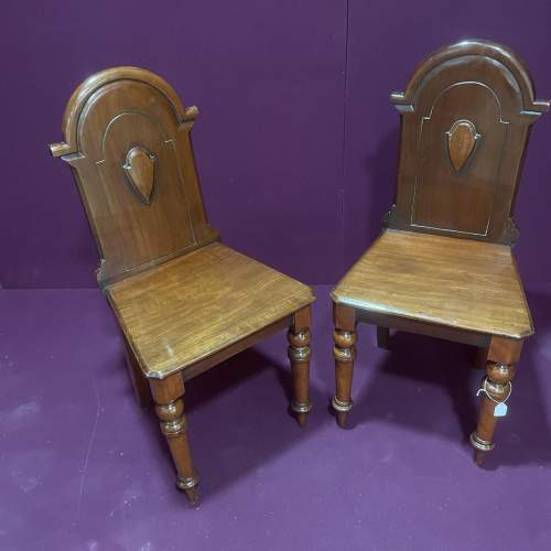 A Pair Of Victorian Mahogany Hall Chairs image-1
