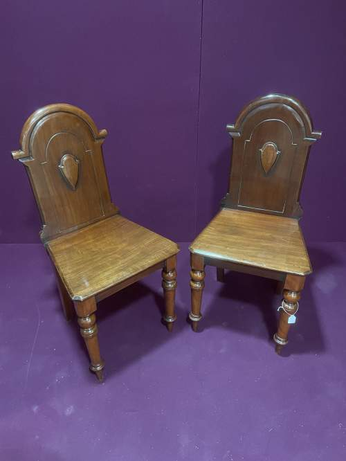 A Pair Of Victorian Mahogany Hall Chairs image-3