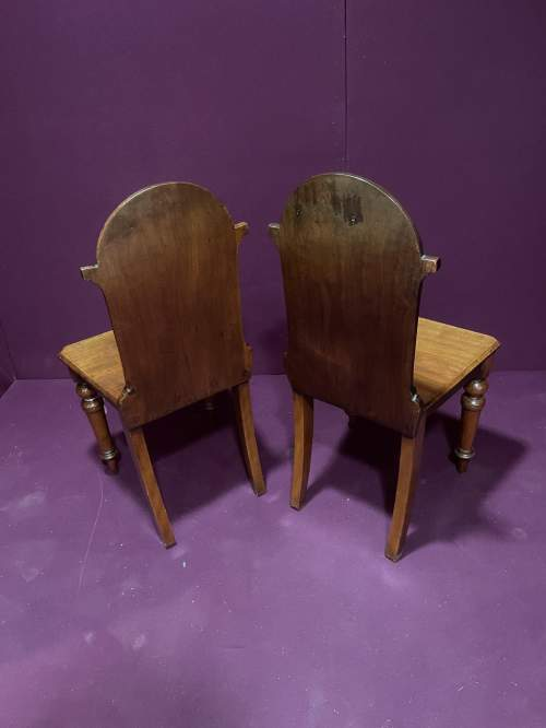 A Pair Of Victorian Mahogany Hall Chairs image-4