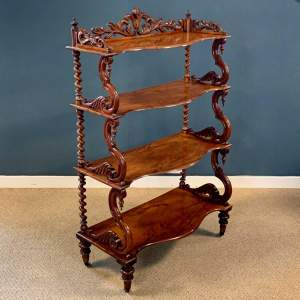 Early Victorian Walnut Four Tier Whatnot