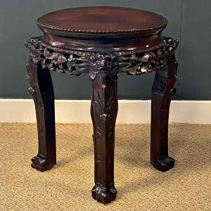 Chinese Carved Hardwood Jardiniere Stand