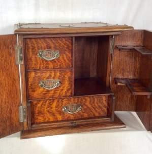 Antique Oak Smokers Cabinet