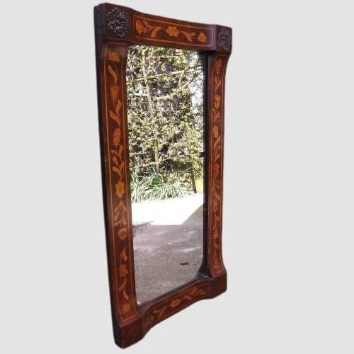 18th Century Dutch Floral Marquetry Walnut Mirror image-2