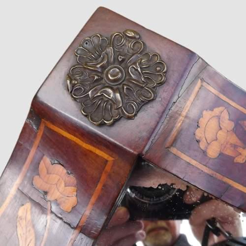 18th Century Dutch Floral Marquetry Walnut Mirror image-4