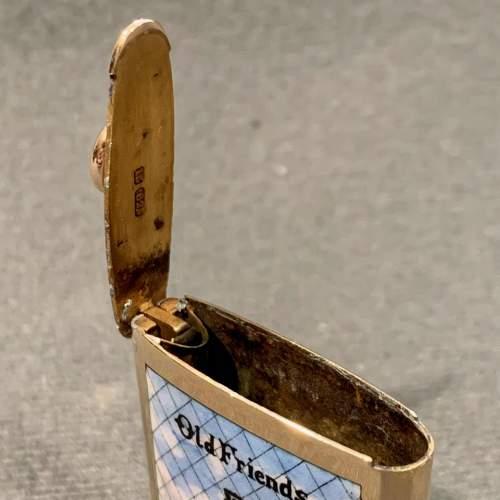Rare Edwardian 15ct Gold and Enamel BASS Old Friends Vesta image-4