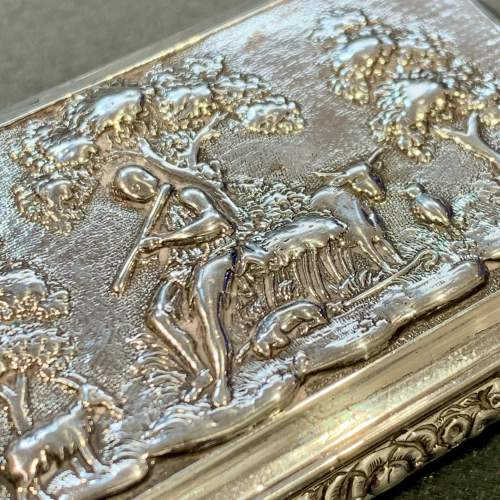 George IV Silver Snuff Box with Pastoral Scene image-3