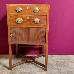 Regency Period Oak Tambour Fronted Bedside Cabinet