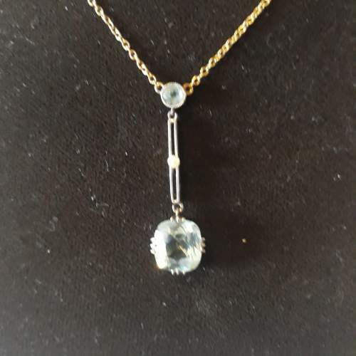 Edwardian Aquamarine and Seed Pearl Pendant on Chain image-2