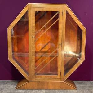 Art Deco Octagonal Walnut Display Cabinet
