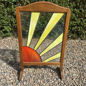 1920s Sunburst Oak Firescreen
