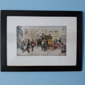 Mr Pickwick - His Friends and Mr Alfred Jingle start for Rochester Print
