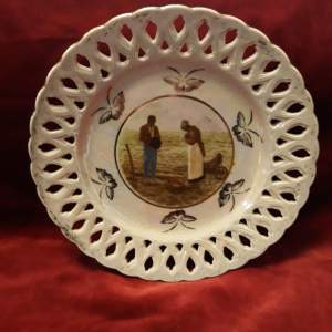 Lustre Ribbon Plate showing Slaves working the field - rare
