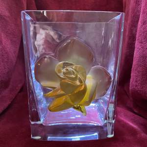Lalique Large and Rare Square ection Amber Rose Glass Vase