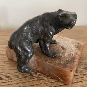 Bronze Bear on Marble Base - Late 19th Century