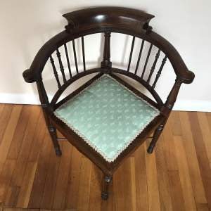 Edward VII Mahogany Inlaid Armchair with Upholstered Seat